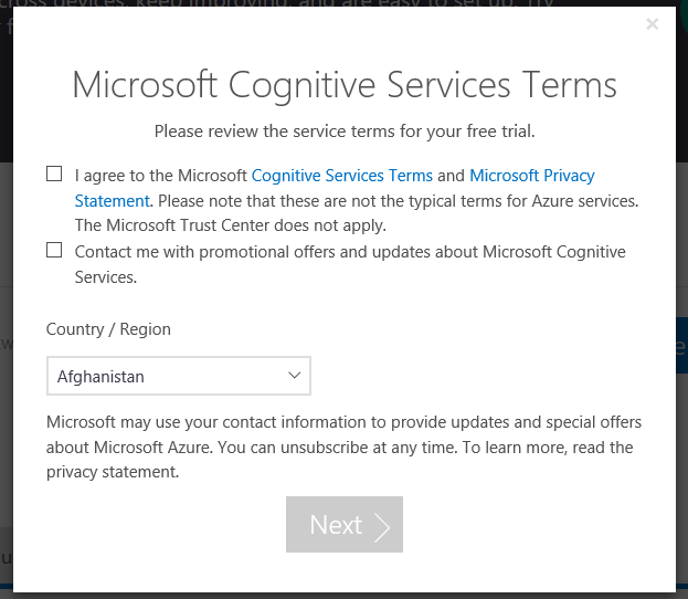 Integrate Azure Cognitive Services in UWPapp
