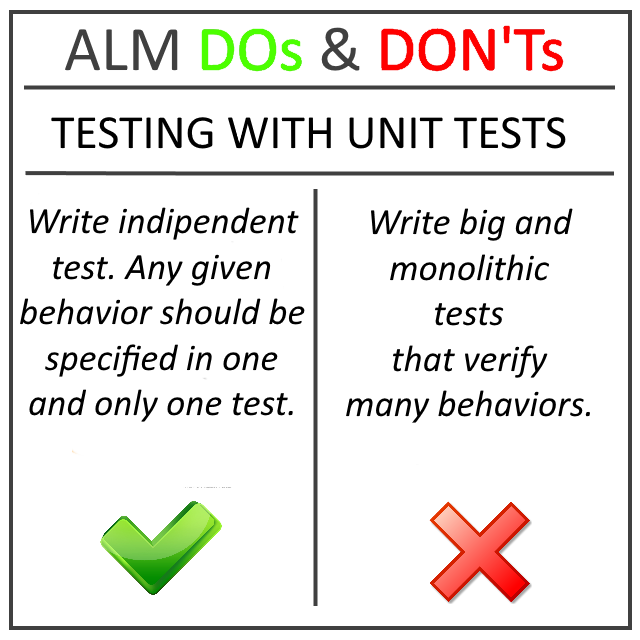 ALM DOs and DON'Ts – Unit test