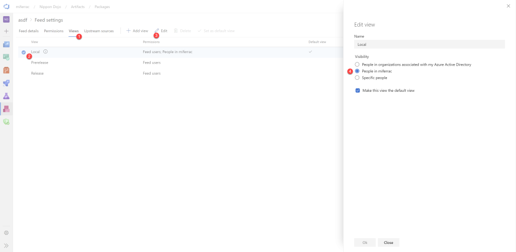 Steps to share the Local view of an Azure Artifact Feed.